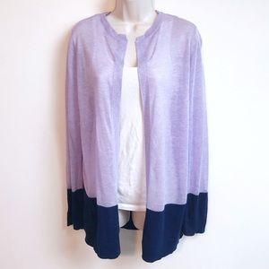 Liz Claiborne open front purple & navy cardigan XL
